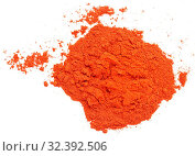 Купить «Pile of red paprika isolated on white background», фото № 32392506, снято 23 ноября 2019 г. (c) age Fotostock / Фотобанк Лори