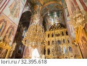 Купить «Trinity Sergius Lavra, interior of the Assumption Cathedral», фото № 32395618, снято 10 мая 2018 г. (c) Юлия Бабкина / Фотобанк Лори