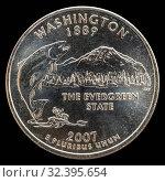 Монета 25 центов США. Штаты и территории.Вашингтон. Стоковое фото, фотограф Владимир Макеев / Фотобанк Лори