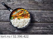 Купить «Yellow curry, Panang curry with Grilled Saba fish», фото № 32396422, снято 11 сентября 2019 г. (c) Oksana Zh / Фотобанк Лори