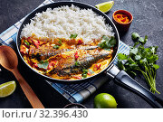 Купить «Yellow curry, Panang curry with Grilled Saba fish», фото № 32396430, снято 11 сентября 2019 г. (c) Oksana Zh / Фотобанк Лори
