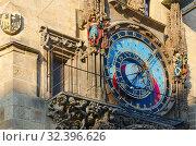 Купить «Пражские куранты, или Орлой на Староместской ратуше в Праге,Чехия. Астрономический циферблат», фото № 32396626, снято 21 января 2019 г. (c) Ольга Коцюба / Фотобанк Лори