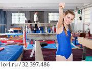 Купить «teenage girl rejoicing at her sporting success», фото № 32397486, снято 17 января 2019 г. (c) Яков Филимонов / Фотобанк Лори