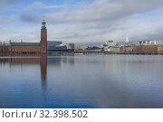 Купить «Городской пейзаж современного Стокгольма с городской ратушей. Швеция», фото № 32398502, снято 9 марта 2019 г. (c) Виктор Карасев / Фотобанк Лори