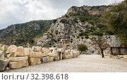Rock-cut tombs in Myra, Turkey (2017 год). Стоковое фото, фотограф Юлия Белоусова / Фотобанк Лори