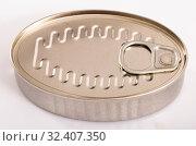 Купить «Closed silver tin can», фото № 32407350, снято 6 июля 2020 г. (c) Яков Филимонов / Фотобанк Лори