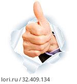 Gratulation mit Daumen hoch als Durchbruch durch Papier. Стоковое фото, фотограф Zoonar.com/Robert Kneschke / age Fotostock / Фотобанк Лори