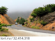 Купить «Road in the fog leading to Half Moon Bay. California», фото № 32414318, снято 7 июня 2020 г. (c) easy Fotostock / Фотобанк Лори