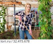 Купить «Woman farmer working in the greenhouse», фото № 32415678, снято 28 февраля 2019 г. (c) Яков Филимонов / Фотобанк Лори