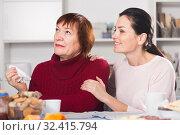 Upset mature woman quarrel with daughter sitting. Стоковое фото, фотограф Яков Филимонов / Фотобанк Лори