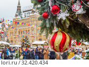Christmas market on Red Square in Moscow (2019 год). Стоковое фото, фотограф Дмитрий Тищенко / Фотобанк Лори