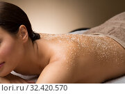 Купить «close up of woman with sea salt on skin at spa», фото № 32420570, снято 13 октября 2019 г. (c) Syda Productions / Фотобанк Лори