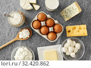 Купить «milk, yogurt, eggs, cottage cheese and butter», фото № 32420862, снято 16 августа 2018 г. (c) Syda Productions / Фотобанк Лори