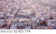 Купить «Aerial view of Alcoi cityscape with blue dome of Archpriest church of Santa Maria, Spain», видеоролик № 32421774, снято 16 апреля 2019 г. (c) Яков Филимонов / Фотобанк Лори