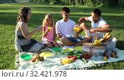 Купить «Happy young woman with her husband and two children enjoying picnic on green meadow together», видеоролик № 32421978, снято 12 июля 2019 г. (c) Яков Филимонов / Фотобанк Лори