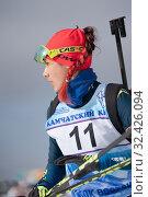 Sportswoman biathlete Yegorova Polina Kazakhstan in action after rifle shooting (2019 год). Редакционное фото, фотограф А. А. Пирагис / Фотобанк Лори