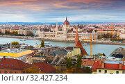 Hungary Parliament at sunset. Стоковое фото, фотограф Яков Филимонов / Фотобанк Лори