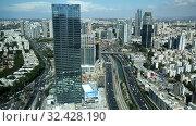 Купить «Вид сверху на Тель-Авив, на шоссе Аялон и район Рамат-Ган, Израиль», видеоролик № 32428190, снято 17 ноября 2019 г. (c) Наталья Волкова / Фотобанк Лори