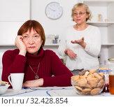 Купить «mature females quarreling and disagreement», фото № 32428854, снято 22 ноября 2017 г. (c) Яков Филимонов / Фотобанк Лори