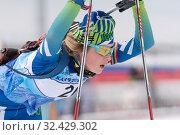 Portrait sportswoman biathlete Anastasia Legostaeva (Nyagan) at finish after rifle shooting, skiing (2019 год). Редакционное фото, фотограф А. А. Пирагис / Фотобанк Лори