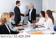 Купить «Business handshake at negotiations», фото № 32429394, снято 26 мая 2020 г. (c) Татьяна Яцевич / Фотобанк Лори