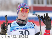 Купить «Portrait smiling Russian sportswoman biathlete Babkina Maria at finish after rifle shooting and skiing», фото № 32429522, снято 12 апреля 2019 г. (c) А. А. Пирагис / Фотобанк Лори