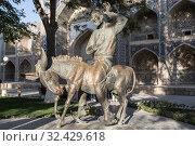 Купить «Памятник фольклорному персонажу мусульманского Востока Ходже Насреддину в Бухаре. Узбекистан», фото № 32429618, снято 18 октября 2019 г. (c) Наталья Волкова / Фотобанк Лори