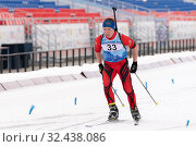 Купить «Kamchatka sportsman biathlete Sadykov Renat skiing on distance biathlon stadium», фото № 32438086, снято 12 апреля 2019 г. (c) А. А. Пирагис / Фотобанк Лори