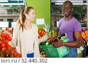 Купить «Couple is holding basket in time shopping», фото № 32440302, снято 26 мая 2018 г. (c) Яков Филимонов / Фотобанк Лори