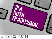 Купить «Text sign showing Ira Roth Traditional. Conceptual photo are tax deductible on both state and federal Keyboard key office typing class work click assign button computer program», фото № 32445194, снято 13 декабря 2019 г. (c) easy Fotostock / Фотобанк Лори