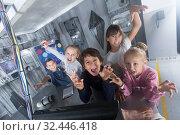 Купить «Children playing in bunker questroom», фото № 32446418, снято 21 октября 2017 г. (c) Яков Филимонов / Фотобанк Лори