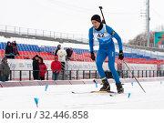 Купить «Kamchatka sportsman biathlete Kushnir Maksimilian skiing distance biathlon stadium», фото № 32446858, снято 12 апреля 2019 г. (c) А. А. Пирагис / Фотобанк Лори