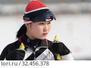 Купить «Portrait of Korean sportswoman biathlete Choi Yoonah (South Korea) during Regional youth biathlon competitions East of Cup. Petropavlovsk-Kamchatsky City, Kamchatka Peninsula, Russia - April 13, 2019.», фото № 32456378, снято 13 апреля 2019 г. (c) А. А. Пирагис / Фотобанк Лори
