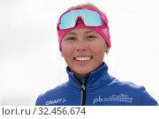 Купить «Close-up portrait of happy smiling sportswoman biathlete Kseniya Petrunova during Regional youth biathlon competitions East of Cup», фото № 32456674, снято 13 апреля 2019 г. (c) А. А. Пирагис / Фотобанк Лори