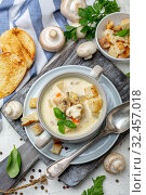 Homemade cream soup with mushrooms and chicken. Стоковое фото, фотограф Марина Сапрунова / Фотобанк Лори
