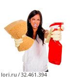 Купить «Eine junge Frau ärgert sich, dass sie den Hausputz machen muss.», фото № 32461394, снято 23 февраля 2020 г. (c) age Fotostock / Фотобанк Лори