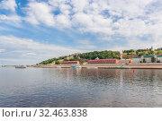 View of the Nizhny Novgorod Kremlin from the river, Russia (2019 год). Стоковое фото, фотограф Дмитрий Тищенко / Фотобанк Лори