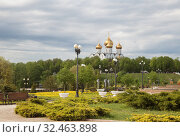 Купить «Assumption Cathedral in Yaroslavl on a sunny spring day. View from Strelka park. Russia», фото № 32463898, снято 13 мая 2019 г. (c) Юлия Бабкина / Фотобанк Лори