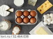 Купить «milk, yogurt, eggs, cottage cheese and butter», фото № 32464038, снято 16 августа 2018 г. (c) Syda Productions / Фотобанк Лори
