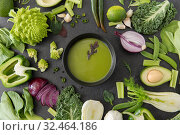 Купить «green vegetables and cream soup in ceramic bowl», фото № 32464186, снято 12 апреля 2018 г. (c) Syda Productions / Фотобанк Лори
