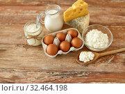 Купить «cottage cheese, milk, yogurt and chicken eggs», фото № 32464198, снято 16 августа 2018 г. (c) Syda Productions / Фотобанк Лори