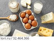 Купить «milk, yogurt, eggs, cottage cheese and butter», фото № 32464366, снято 16 августа 2018 г. (c) Syda Productions / Фотобанк Лори
