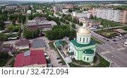 Купить «Aerial view of Holy Trinity Church at Ozyory in summer. Russia», видеоролик № 32472094, снято 13 мая 2019 г. (c) Яков Филимонов / Фотобанк Лори