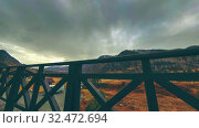 Купить «Timelapse of wooden fence on high terrace at mountain landscape with clouds. Horizontal slider movement», видеоролик № 32472694, снято 18 марта 2018 г. (c) Александр Маркин / Фотобанк Лори