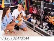 Купить «Portrait of smiling woman and brother purchasing pet bowls in pet shop», фото № 32473014, снято 7 июля 2020 г. (c) Яков Филимонов / Фотобанк Лори