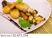 Grilled mushrooms with vegetables. Стоковое фото, фотограф Яков Филимонов / Фотобанк Лори
