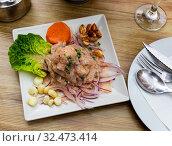 Peruvian ceviche of white fish. Стоковое фото, фотограф Яков Филимонов / Фотобанк Лори