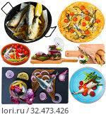 Купить «Deliciously dishes with horse-mackerel and sardines at plates isolated», фото № 32473426, снято 21 февраля 2020 г. (c) Яков Филимонов / Фотобанк Лори
