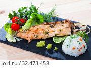 Купить «Roasted trout fillet with rice», фото № 32473458, снято 5 декабря 2019 г. (c) Яков Филимонов / Фотобанк Лори
