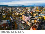 Купить «Aerial view of Jablonec nad Nisou, Czech Republic», фото № 32474370, снято 19 октября 2019 г. (c) Яков Филимонов / Фотобанк Лори